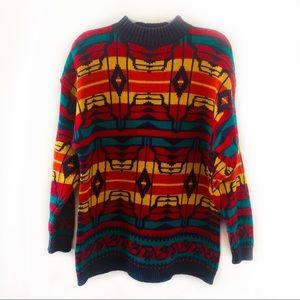 Vintage Laureen E. Ong Geometric Crewneck Sweater
